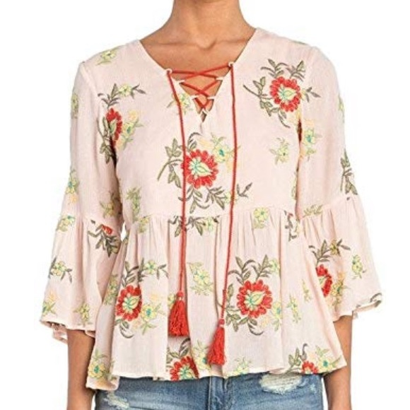 Miss Me Floral Embroidered Peasant Top